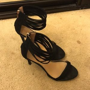 Black strappy heels in great condition